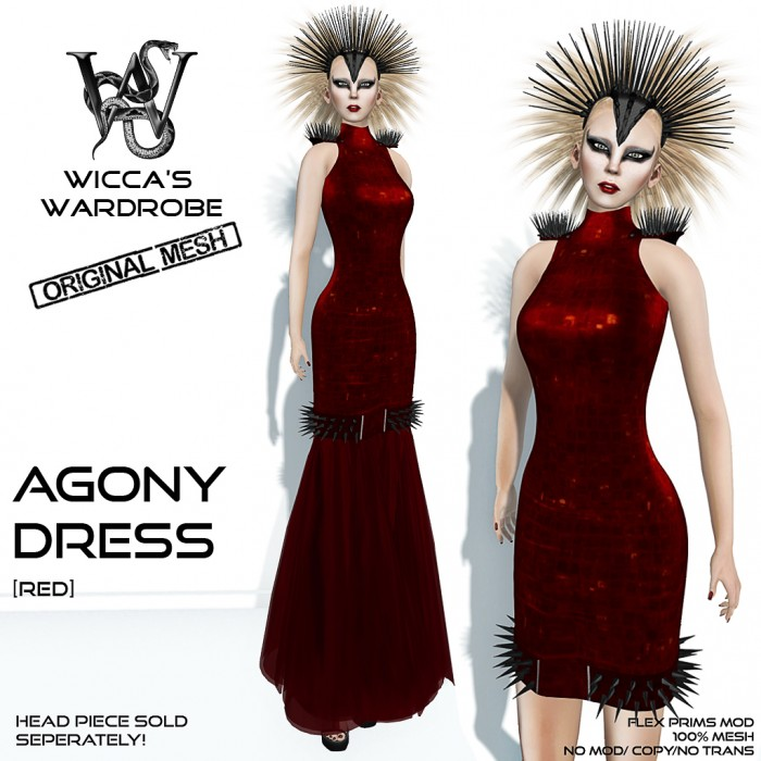 Wicca's Wardrobe - Agony Dress (red) Vendor