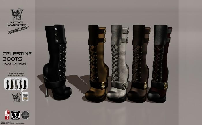 Wicca's Wardrobe - Celestine Boots (Plain Fatpack] Vendor