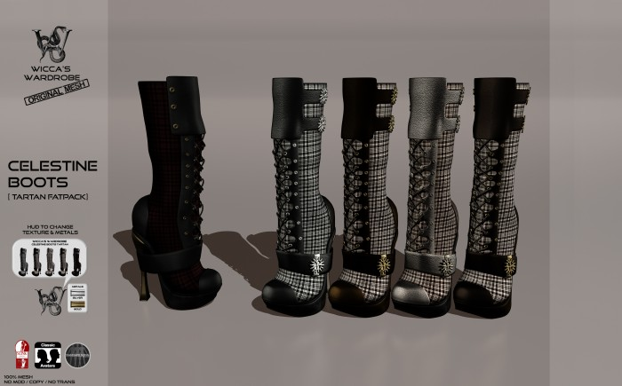 Wicca's Wardrobe - Celestine Boots (Tartan Fatpack] Vendor