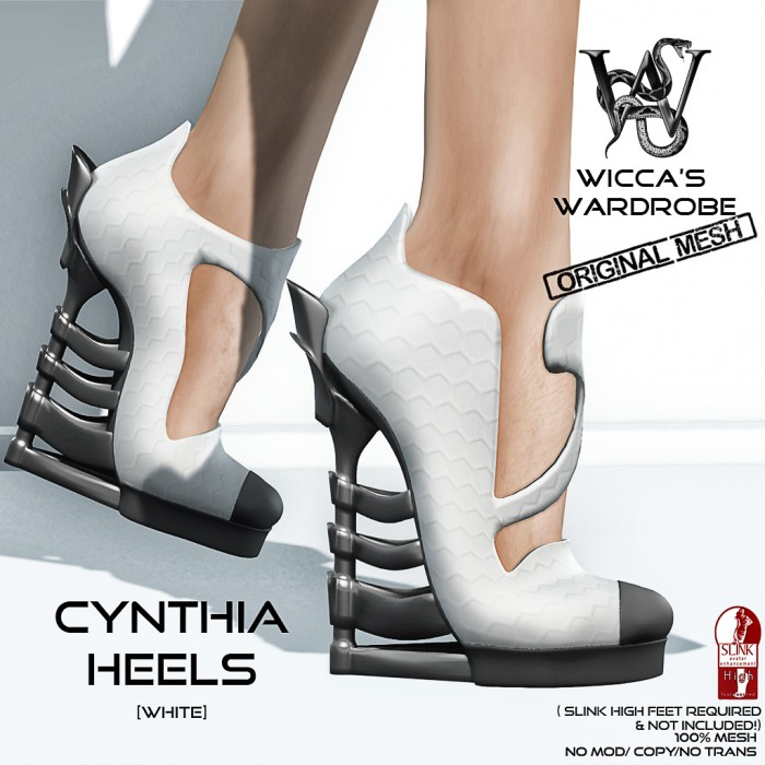 Wicca's Wardrobe - Cynthia Heels (White) Vendor