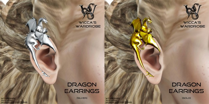 Wicca's Wardrobe Dragon Earring (Instruments)