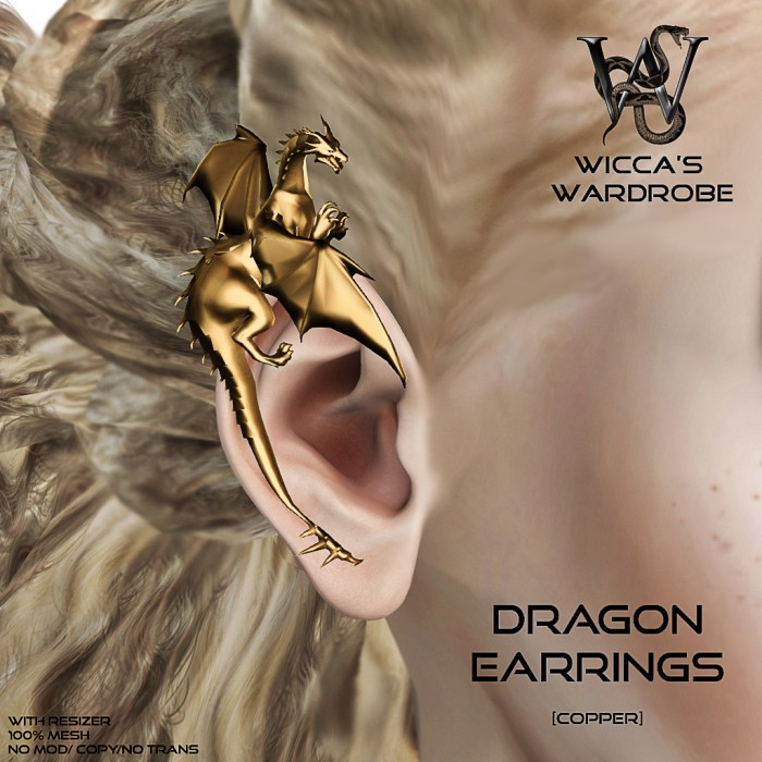 Wicca's Wardrobe - Dragon Earrings (Copper) Vendora
