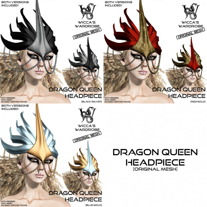 Wicca's Wardrobe - Dragon Queen Headpiece (all)