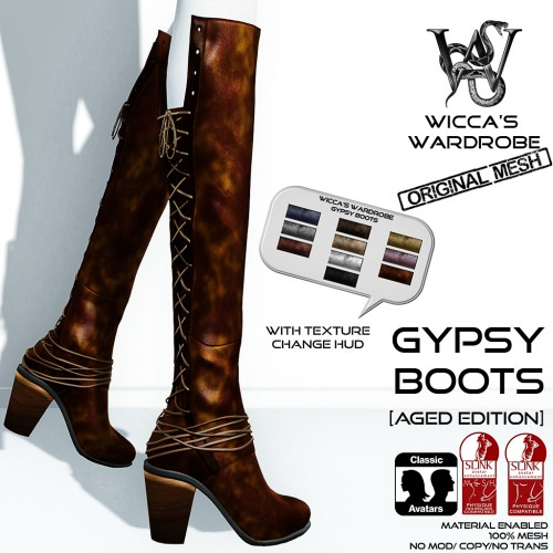 Wicca's Wardrobe - Gypsy Boots (Aged Edition) Vendor