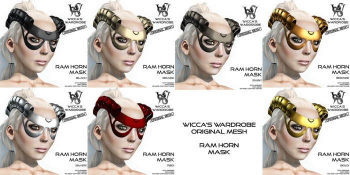 Wicca's Wardrobe - Ram Horn Mask (All Colors)