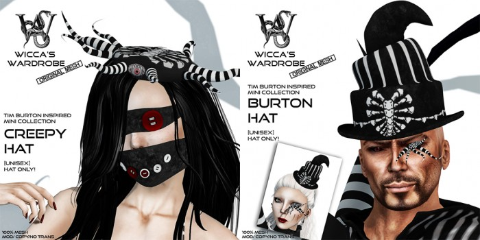 Wicca's Wardrobe - Tim Burton Inspired Mini Collection Hats