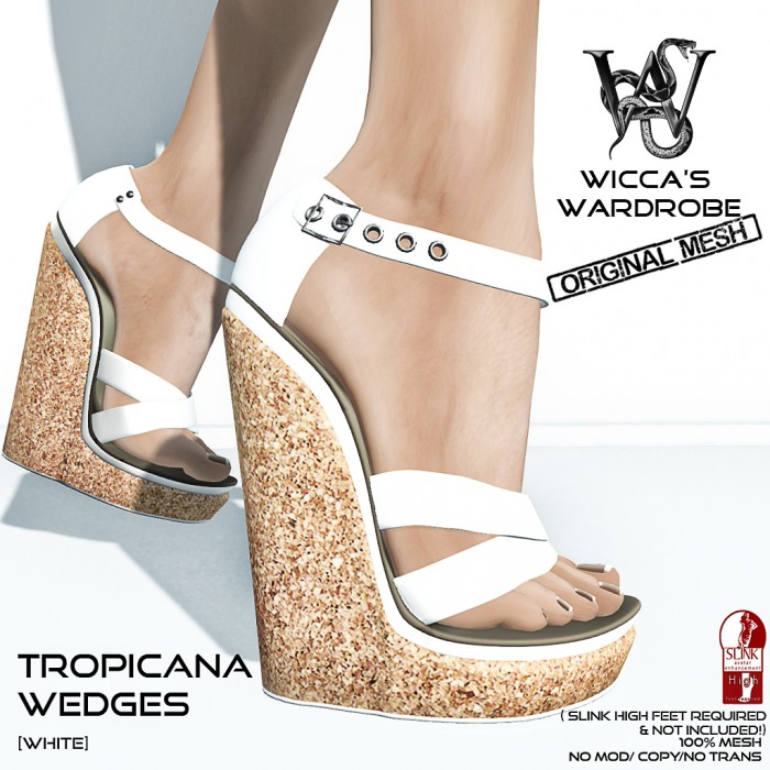 Wicca's Wardrobe - Tropicana Wedges (White) Vendor